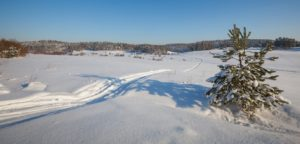 Snow-covered field with a track of the snowmobile
